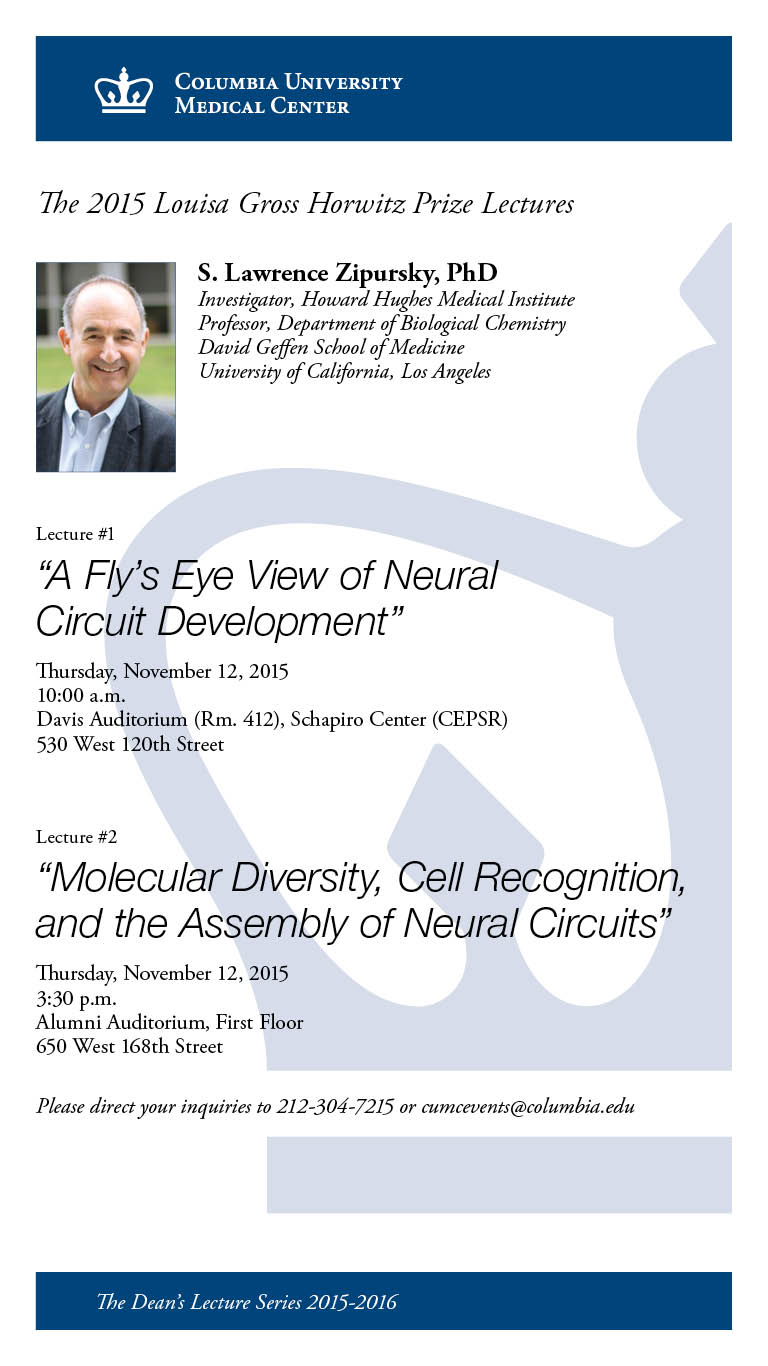 Poster for the 2015 Horwitz Prize Lecture