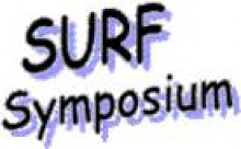 """photo displaying """"SURF Symposium"""" in black and purple font"""