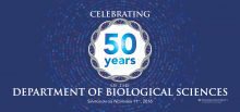 banner promoting 50 years of the Department of Biological Sciences