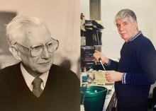 photos of Cyrus Levinthal in black and white and Alex Tzagoloff in color