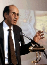 Dr. Richard Axel is pictured speaking.